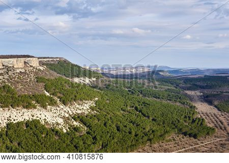 Landscape - Scarpland With Cuestas And Forest Plantations In Central Crimea
