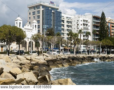 Limassol, Cyprus, March 2nd, 2021: Seafront Buildings And Coastal Pedestrian Path