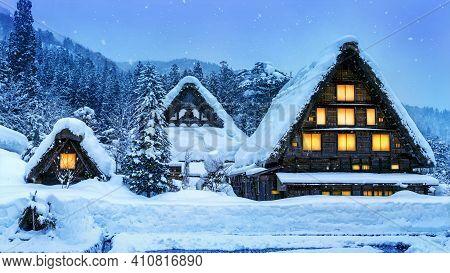 Shirakawa-go Village In Winter, Unesco World Heritage Sites, Japan.
