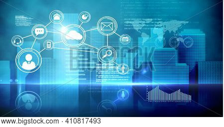 Financial data processing and digital icons over modern cityscape on blue background. global technology, business and finance concept digitally generated image.