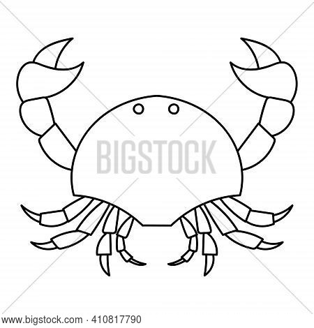Crab Graphic Icon. Sea Crab Black Contour Isolated On White Background. Vector Illustration