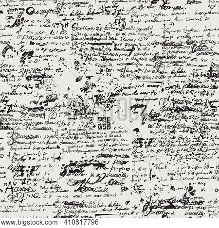 Abstract Seamless Pattern With Handwritten Scribbles And Blots, Imitation Of An Old Manuscript Or Dr