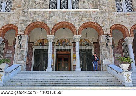 Piraeus, Greece - May 04, 2015: Stairs To Holy Orthodox Christian Church Of Agia Triada In Piraeus,