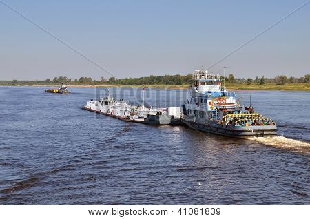 Barges On A River Volga