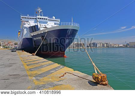 Piraeus, Greece - May 04, 2015: Blue Horizon Ferryboat Moored In Biggest Greek Commercial Port In Pi