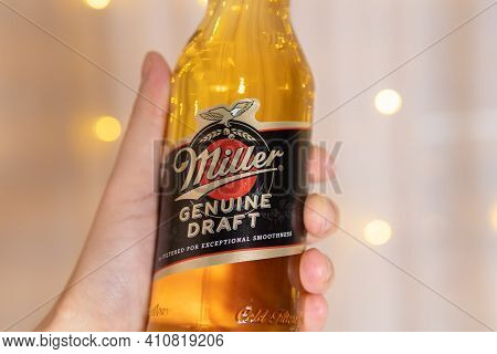 Tyumen, Russia-february 13, 2021: Bottle Of Miller Genuine Draft, The Original Packaged Draft Beer.