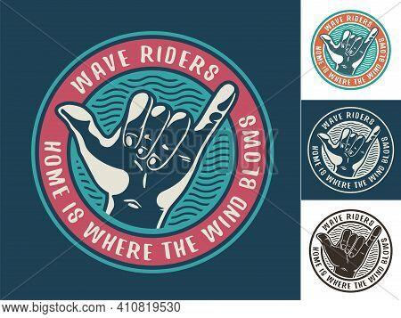 Print Set Of Surfer Hawaii Gesture Shaka Or Aloha