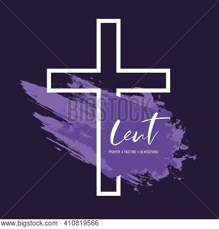 Lent Season, Holy Week And Good Friday Concepts With Lent Prayer Fasting And Almsgiving Text On Purp