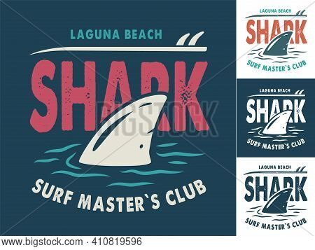 Print Set Of Surfing Shark Fin And Surfboard