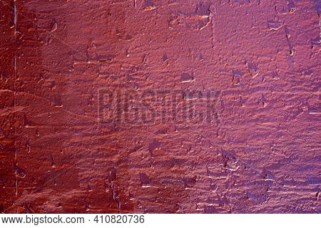 Roughly Painted Wall With Dark Red Paint. Evidence Of Red Paint. Beautiful Abstract Grunge Decorativ
