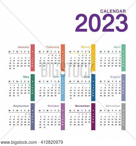 Colorful Year 2023 Calendar Horizontal Vector Design Template, Simple And Clean Design. Calendar For