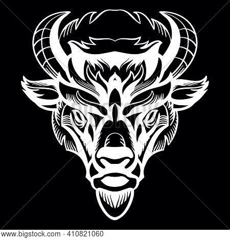 Mascot. Vector Head Of Bison. White Illustration Of Danger Wild Bull Isolated On Black Background. F