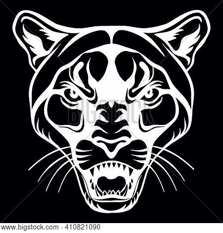 Mascot. Vector Head Of Cougar. White Illustration Of Danger Wild Cat Isolated On Black Background. F