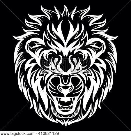 Mascot. Vector Head Of Lion. White Illustration Of Danger Wild Cat Isolated On Black Background. For