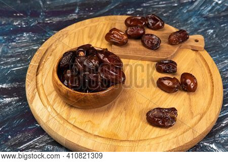 Dry Date In A Bowl. Ramadan Kareem With Dates Selective Focus