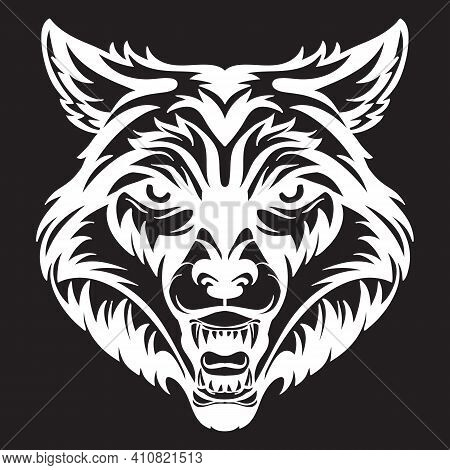 Mascot. Vector Head Of Wolf. White Illustration Of Danger Wild Beast Isolated On Black Background. F
