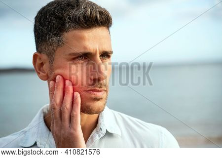 Toothache, Medicine, Health Care Concept, Teeth Problem, Young Man Suffering From Tooth Pain. Handso