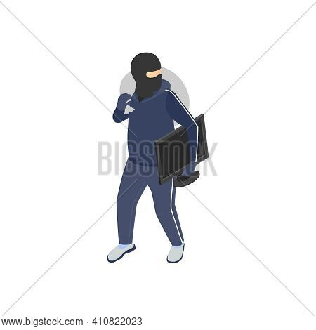 Gang Crime Robbery Stealing Isometric Composition With Human Character Of Thief In Mask With Goods V