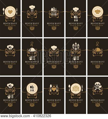 Set Of Business Cards For Restaurant Or Cafe. Black Vector Visiting Cards With Icons On The Theme Of