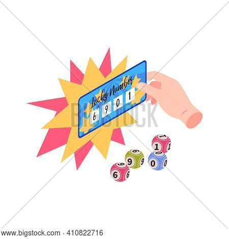 Isometric Fortune Lottery Win Composition With Prize Ticket With Numbers On Lottery Balls Vector Ill