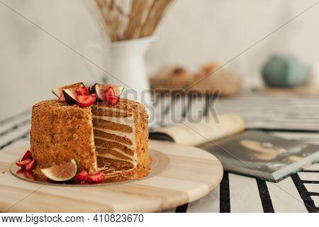 Birthday Cake. Blue Cake Diy Cake. Cake. Food