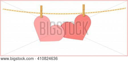 Two Heart Shape Pink Papers Hanging With Clothespin On String. Vector Note Illustration With Copy Sp