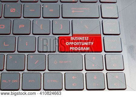 A Picture Of Keyboard With The Word Business Opportunity Program On Enter Button. Opportunity For Ne