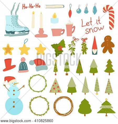 Large Set Of Christmas Elements, Objects Isolated On A White Background. Merry Christmas And Happy N