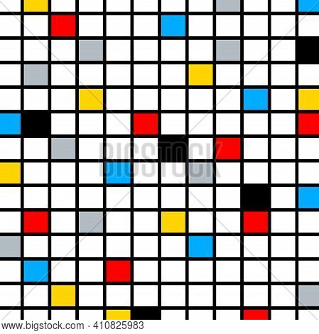 A Fun, Bright And Colorful Color Composition, In The Style Of The De Stijl Movement.