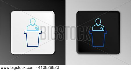 Line Speaker Icon Isolated On Grey Background. Orator Speaking From Tribune. Public Speech. Person O