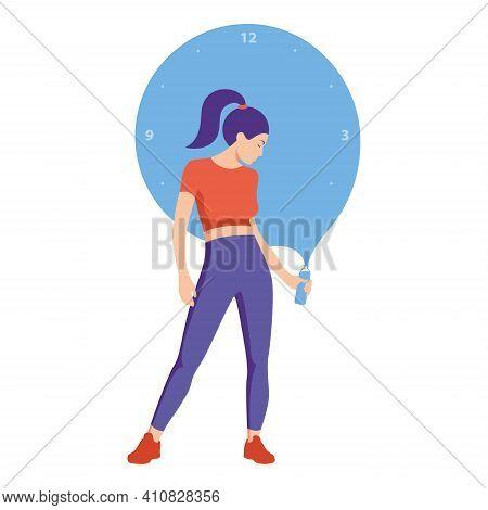 Athletic Girl Holding A Bottle Of Water In Her Hands. Drinking Regime. Flat Design. Vector Illustrat