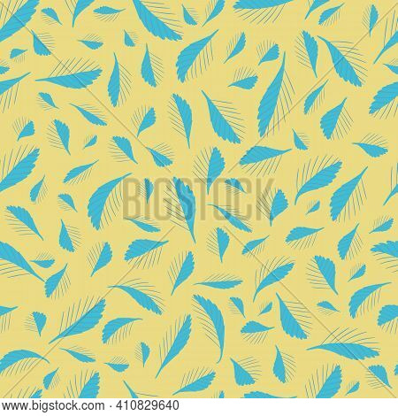 Mono Print Style Scattered Tiny Leaves Seamless Vector Pattern Background. Simple Lino Cut Effect Li