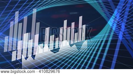 Financial data processing statistics recording over blue background. global technology, business and finance concept digitally generated image.