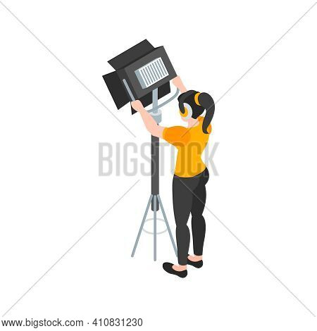 Isometric Cinematography Composition With Isolated Character Of Lighting Assistant With Spot Light V
