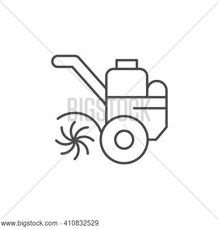 Cultivator Or Tiller Line Icon Isolated On White. Vector Illustration