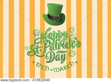 Happy st patrick's day 17th march text with green hat on yellow striped background. celebration saint patrick's day concept digitally generated image.