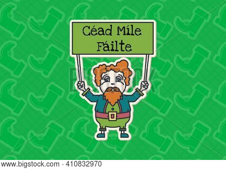 Cead mile failte text on green board held by leprechaun on green patterned background. celebration saint patrick's day concept digitally generated image.