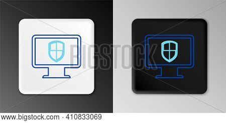 Line Monitor And Shield Icon Isolated On Grey Background. Computer Security, Firewall Technology, In