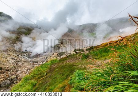 Thrilling View Of Volcanic Landscape, Aggressive Hot Spring, Erupting Fumarole, Gas-steam Activity I