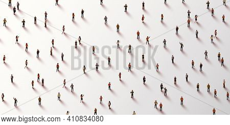 Large Group Of People On White Background. People Crowd Concept.