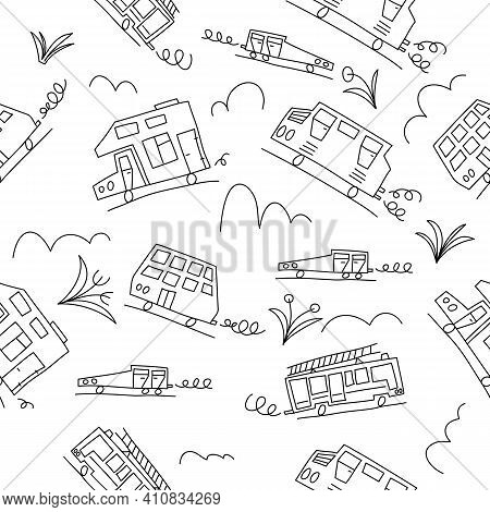 Vector Black And White Doodle Monoline Cars. Seamless Baby Boy Pattern Monoline. Texture For Wallpap