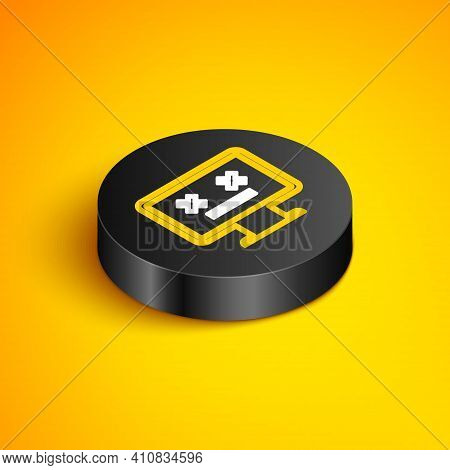 Isometric Line Dead Monitor Icon Isolated On Yellow Background. 404 Error Like Pc With Dead Emoji. F
