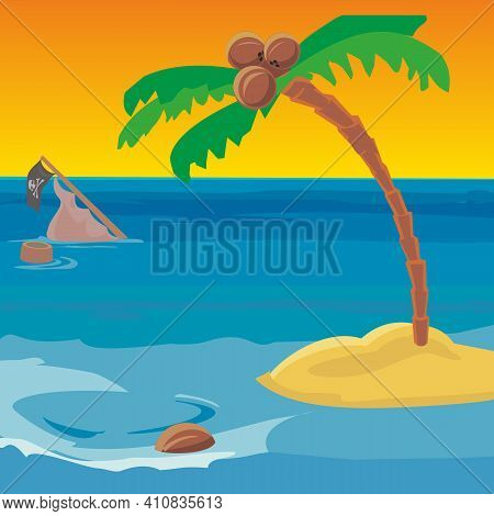 Shipwreck And A Desert Island With A Coconut Tree.