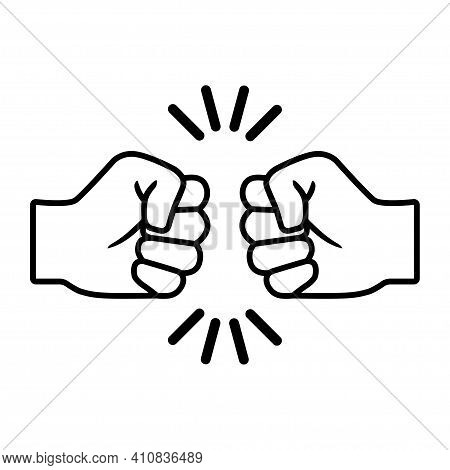 Fist Bumping. Two Human Hands Giving Fist Bump . Flat Style Vector Illustration