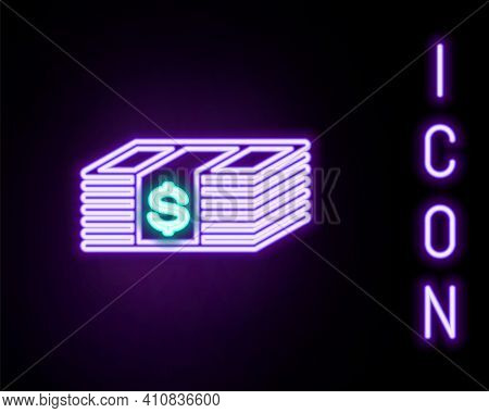 Glowing Neon Line Paper Money American Dollars Cash Icon Isolated On Black Background. Money Banknot