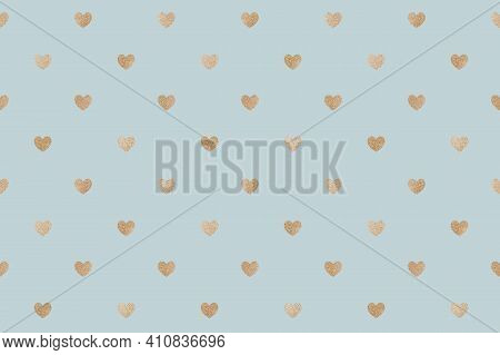 Seamless Glittery Gold Hearts Patterned Background High
