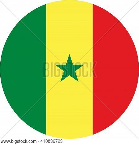 Senegal Round Flag Icon. Country Signs And Symbols.