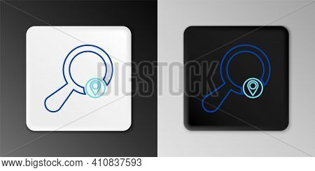 Line Search Location Icon Isolated On Grey Background. Magnifying Glass With Pointer Sign. Colorful