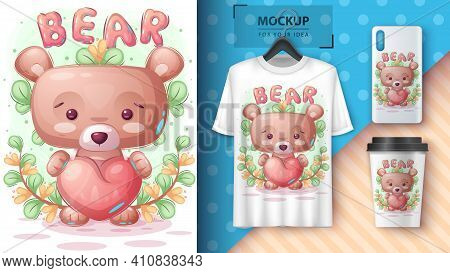 Bear With Heart Poster And Merchandising. Vector Eps 10