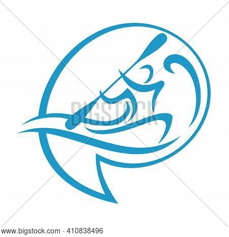 Canoeing Logo Or Kayaking Sport Emblem - Pin Shape With Man Silhouette That Rowing With Oars Of Cano
